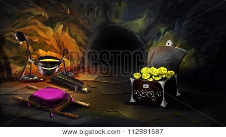 Chest full of gold in a magic cave.