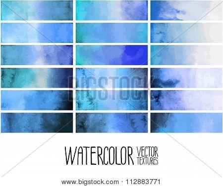 Blue watercolor gradient rectangles