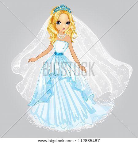 Beauty Blonde Princess In Wedding Dress