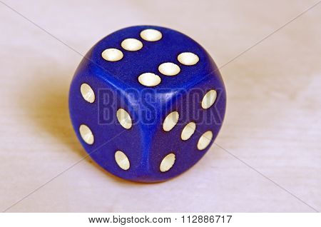 Blue dice with white pips