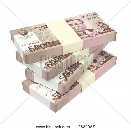 North Korea won bills isolated on white background. Computer generated 3D photo rendering.