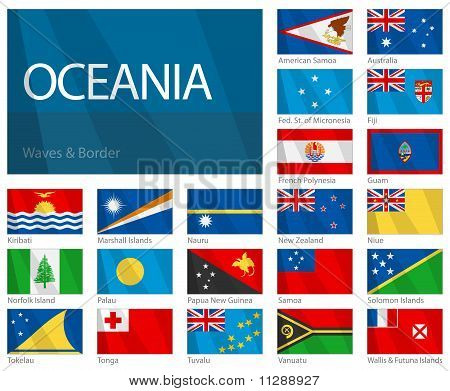 Waving Flags Of Oceania Countries.