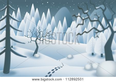 Winternight landscape illustration
