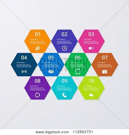 Vector illustration of infographics hexagons.