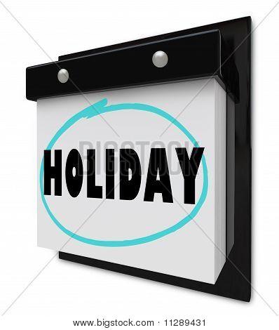 Urlaub Wort auf Wandkalender