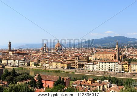 View towards Florence from Piazzale Michelangelo, Italy