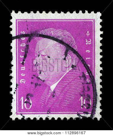 GERMAN REICH - CIRCA 1928: A stamp printed in the German Reich shows Friedrich Ebert (1871-1925), 1st President of the German Reich, circa 1928.