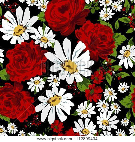 Beautiful seamless floral pattern background. Flower bouquets of red roses and camomile.