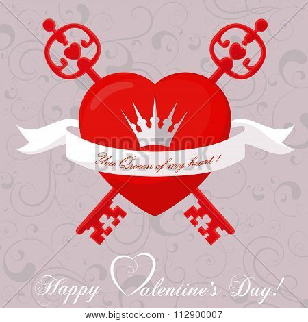 Banner For Design Posters Or Invitations On Valentine's Day With Cutest Abstract Symbol Heart, T