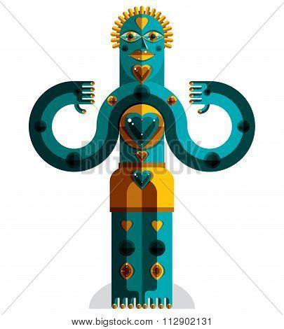 Cubism Theme Vector Graphic Illustration, Modernistic Symbol. Geometric Cartoon Character, Mythic