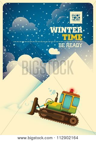 Winter time background. Vector illustration.