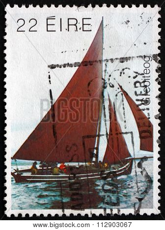Postage Stamp Ireland 1982 Galway Hooker, Traditional Fishing Bo