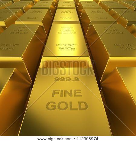 Gold reserve concept image. Golden bars repository 3D render.