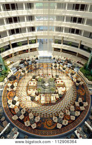 Antalya, Turkey - April 22: The Lobby Of Calista Luxury Resort Hotel With Versace Carpet On April 22
