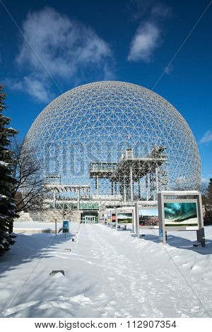 MONTREAL, CANADA - JANUARY 16th 2015: The Biosphere Museum, dedicated to environmental issues, is located in Parc Jean-Drapeau, and was designed by Buckminster Fuller.
