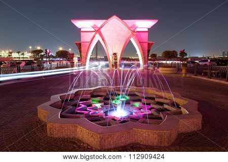 Fountain At The Corniche In Doha, Qatar