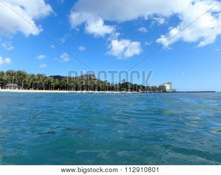 Calm Ocean Water At Queens Beach In Waikiki