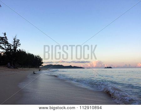 Waimanalo Beach At Dusk Looking Towards Mokulua Islands