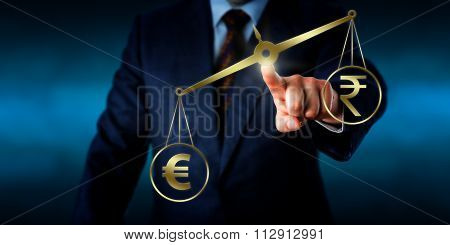 Euro Currency Symbol Outweighing The Indian Rupee