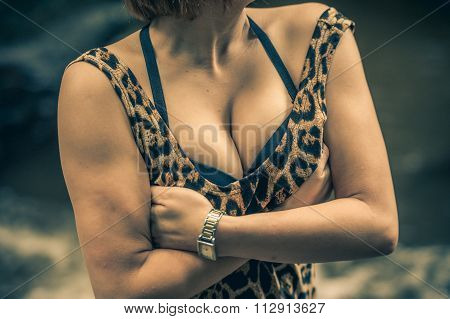 Chest Of Asia Girl In Dress