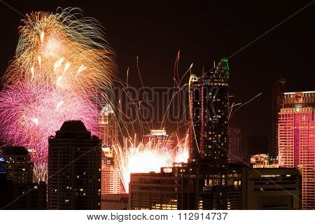 Fireworks at New Year countdown event in Bangkok Thailand