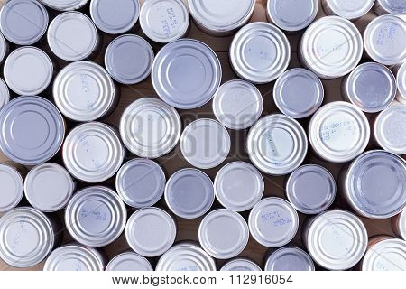 Background Of Multiple Sealed Food Cans