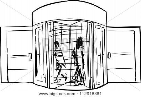 Outline Of People In Revolving Doorway
