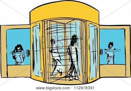 People At Revolving Door