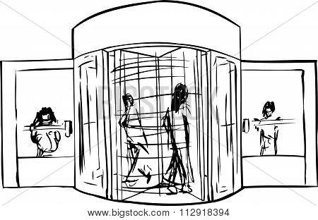 People At Revolving Door Outline