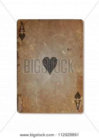 Very Old Playing Card, Ace Of Hearts