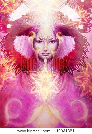 beautiful painting of a violett angelic spirit with a woman face and golden ornaments