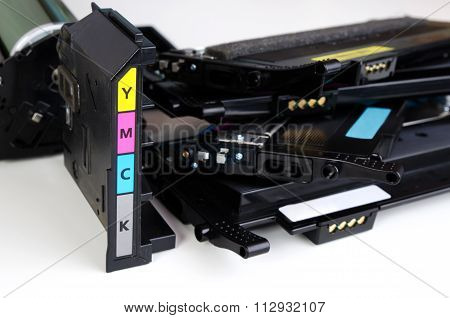 Toner Cartridge Set For Laser Printer On White Background