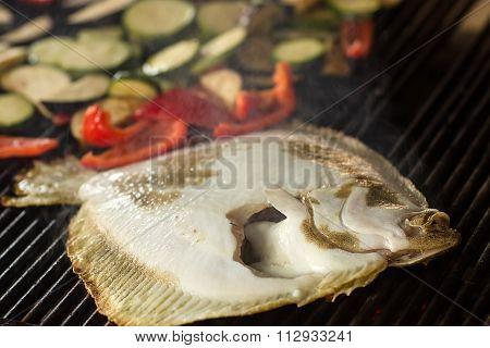 Flounder With Vegetables Grilled