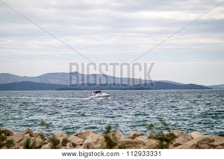 Beautiful Seascape And Powerboat
