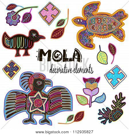 Set of Decorative Ethnic Elements. Mola Style Design. Antique. Colorful Vector Collection