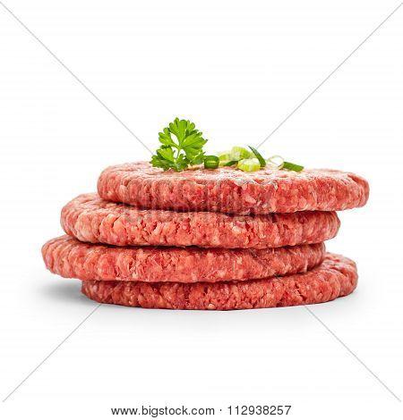 Four Fresh Hamburger Slices, Isolated