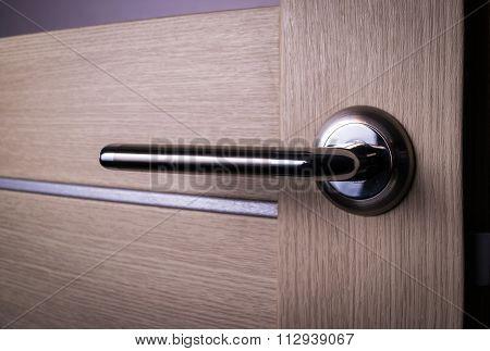 wooden door with knob, handle