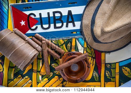 Travel To Cuba Concept, Hat, Cigars And Flag