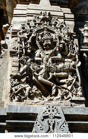 Statue of Lord Narasimha on the walls of Chennakesava temple, Belur captured on December 30th, 2015