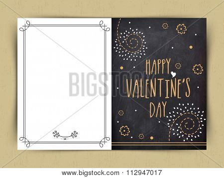 Elegant greeting card design in chalkboard style for Happy Valentine's Day celebration.