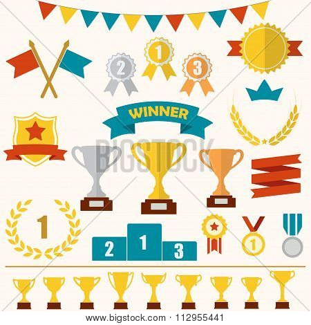 Trophy and awards icon set: laurel wreath, winning trophy cup, crown, medals, pedestal, ribbons.