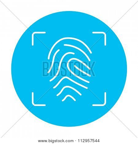 Fingerprint scanning line icon for web, mobile and infographics. Vector white icon on the light blue circle isolated on white background.