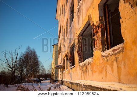 Disturbed building in winter time
