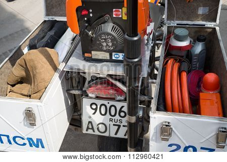 RUSSIA, MOSCOW - MAY 29, 2015: Motorcycle with fire equipment stand on territory of fire station.