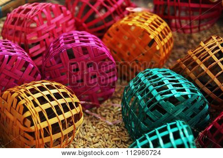 small birds trapped in colourful cages on seed ground