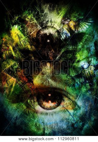 beautiful illustration women eye , with birds on multicolor background eye contact.