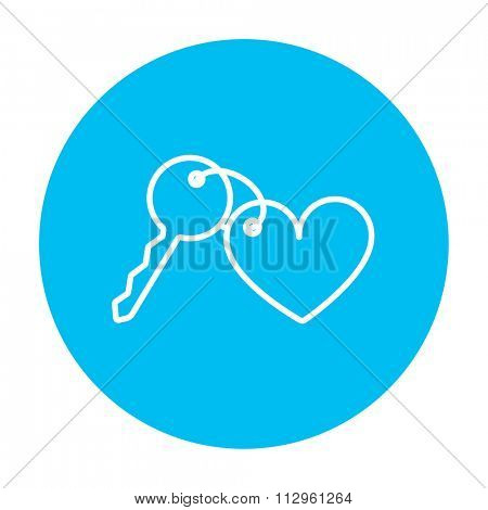 Trinket for the keys as a heart line icon for web, mobile and infographics. Vector white icon on the light blue circle isolated on white background.