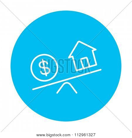 House and dollar symbol on scales line icon for web, mobile and infographics. Vector white icon on the light blue circle isolated on white background.