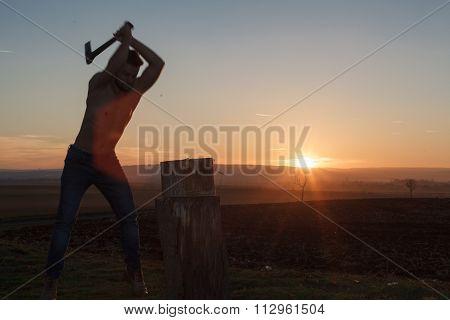 Silhouette Stylish Lumberjack At Work.