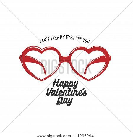 Valentine day card with heart shaped glasses. Vintage vector illustration.